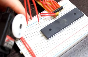 image of the breadboarded circuit with the servo plugged into the breadboard